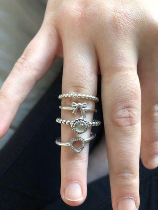 Pandora & Karen Walker rings all size 56