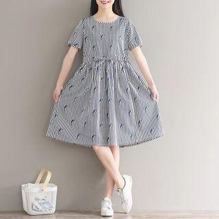 包郵,大碼條紋小鳥雪紡藏藍連衣裙
