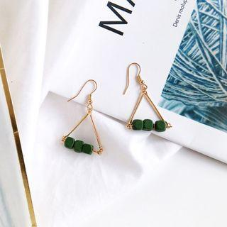 (Clip On/Hook) Vaner's Wooden Earrings In Deep Green