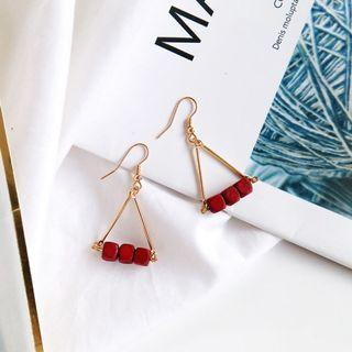 (Clip On/Hook) Vaner's Wooden Earrings In Reddish Brown