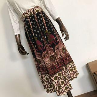 現貨👉泰國購入🐘圖騰一片式綁帶綿麻長裙