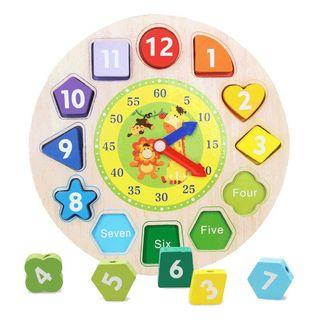 Montessori Wood Toy Clock Shape Blocks Cognitive Learning Baby Toy