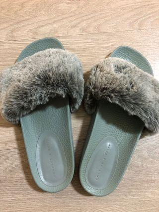 Charles & Keith furry sliders