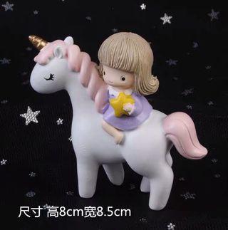 🚚 Unicorn and Girl Cake Topper