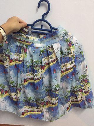 Beach print skirt