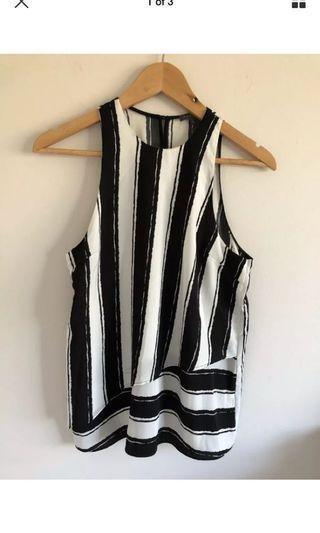 Sheike black white stripe drape tank
