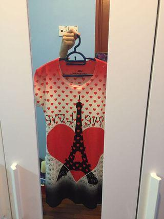 Paris Eiffel Tower print night gown