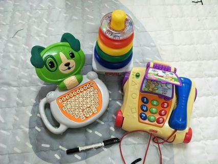 🚚 費雪Fisher-Price電話+費雪Fisher-Price套圈圈+小狗電腦