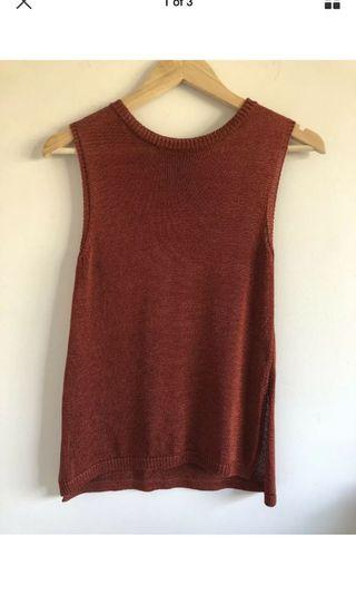 Sheike metallic knit drape tank