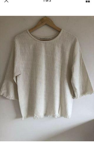 Country Road cream tweed boxy top