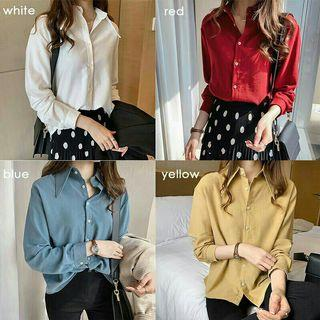 [2037] Women Plus Size Pure Color Long Sleeve Top Office Casual Blouse