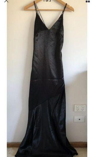 H&M silky black satin floor length gown
