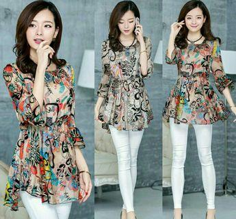 [1657] Women Korean Floral Printed Half Sleeve Blouse