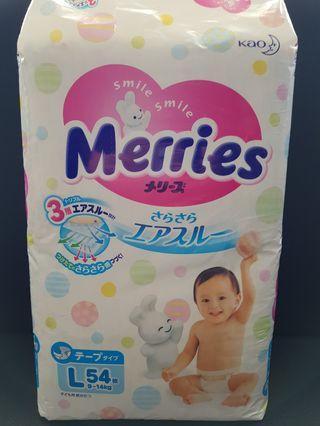 Kao Merries L Size 54pcs 9 -14kg Diaper