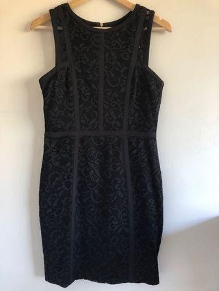 Forever new black lace stretch jersey dress