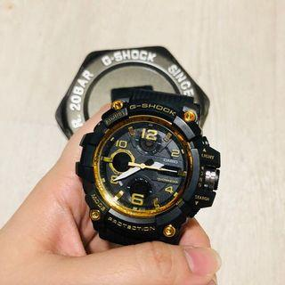 G shock casio gold face male watch