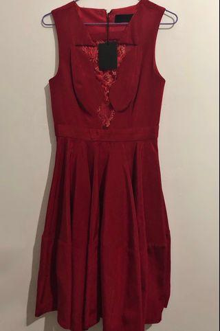 Nicola Finetti Lace Window Red Dress