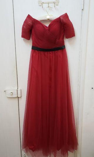 紅色晚裝裙 露肩裙 party dress