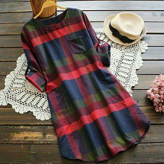 [Z2488] RESTOK 🌺Fashion Women Ladies Plaid Long Sleeve Loose Pocket Swing Vintage Dress