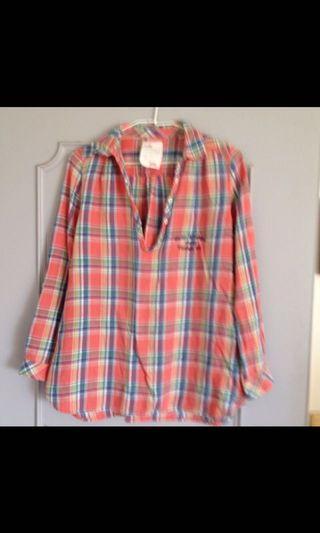 🚚 日本品牌七分袖襯衫、上衣。L漂漂粉紅粉橘色,狀況很好