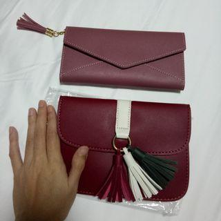 Old rose wallet and red bag with tassel bundle