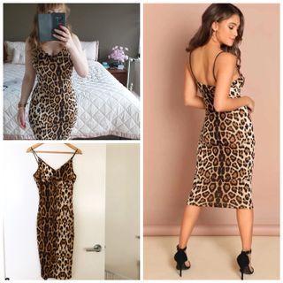 Brand new leopard print spaghetti straps body con dress