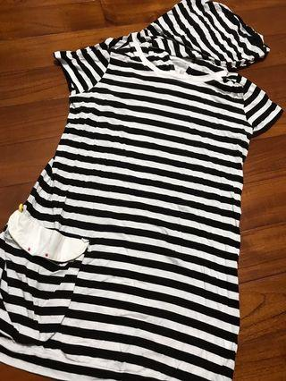 🚚 A la sha 黑白條紋上衣