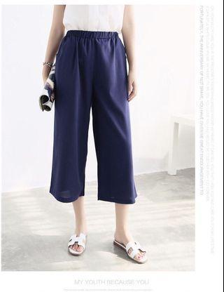 🚚 9成新 深藍色鬆緊寬褲
