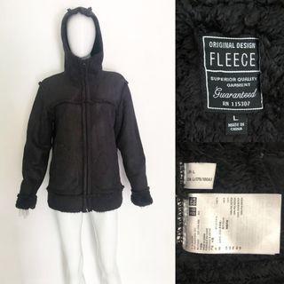 Uniqlo black shearling fleece coat / jacket