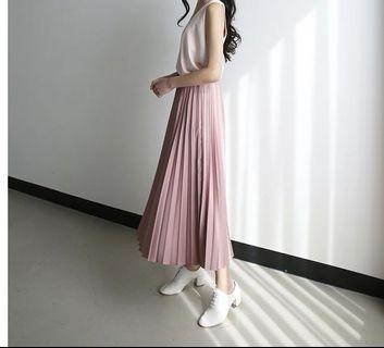 🚚 二手 9成新 重雪紡百褶粉紅色鬆緊腰長裙