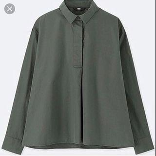 Uniqlo EFC A Line Long Sleeve Shirt in Green