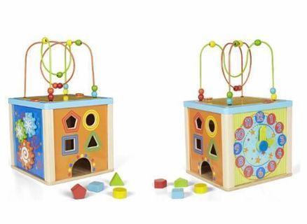 5合1 木制多功能教學玩具 時鐘 積木 Multi activity cube wooden