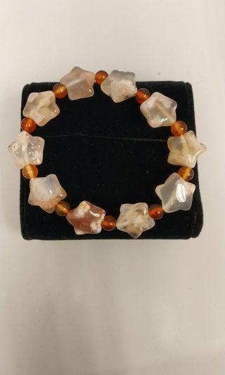 樱花瑪瑙星星手串,粒粒冰透帶花