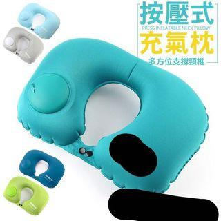 按壓式 充氣枕 飛機枕 U型枕 快速充氣枕 綠1現貨