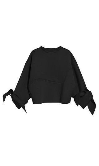 Black bow sleeve top