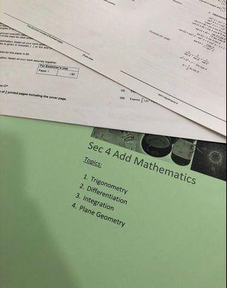 O Level Additional Mathematics Notes and Practices