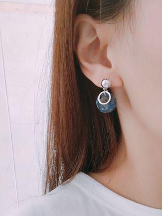 韓國雲石紋耳環