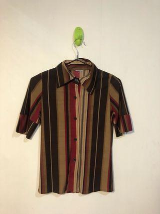 古著 條紋緊身彈性襯衫