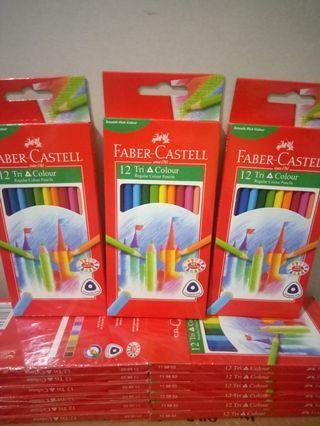 Pensil Warna Faber Castell 12 Tri Colour Triangular Grip