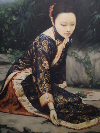 Oil painting of classic chinese beauty