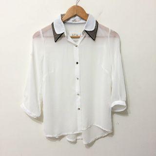 全新✨造型領白色雪紡上衣