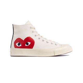 CDG white Converse low and high cut