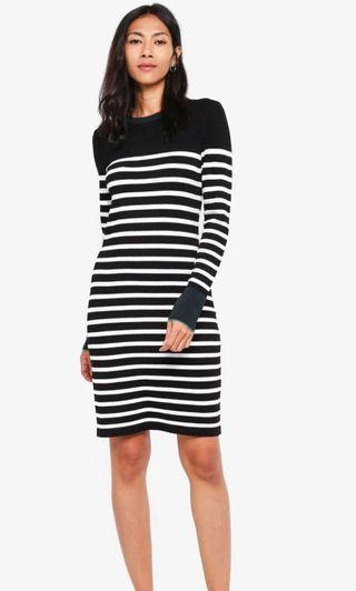 Instock Stripe Dress Women Long Sleeve Plus Size