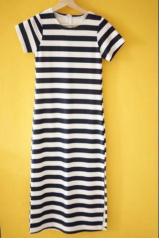 Striped long skirt
