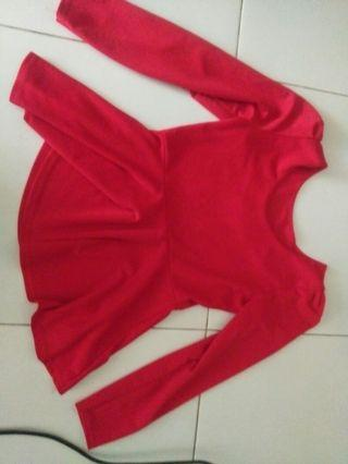 Peplum raya top Red
