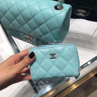 Chanel Tiffany Blue Caviar Zip Purse