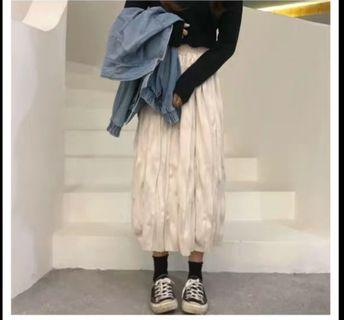 🚚 polyester velvet bags cream long skirt