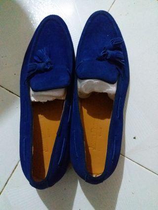 鮮藍絨面平底牛津鞋