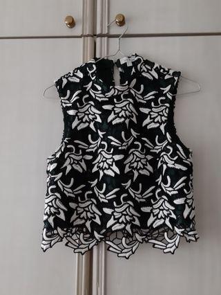 Love Bonito High Neckline Embroidered Top Size S