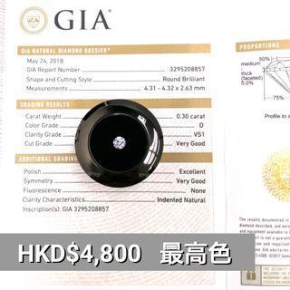 GIA鑽石 30份 D VS1